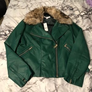 New York & Company Green Faux Leather Jacket